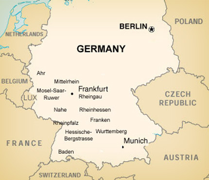 The Wines Of Germany - Germany map regions