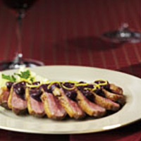 Duck Breast with Blueberry-Cabernet Sauce
