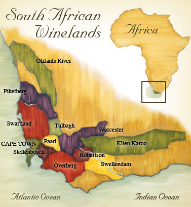 The Wines Of South Africa - South africa regional map